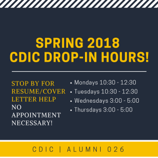 Spring 2018 CDIC drop-in hours!