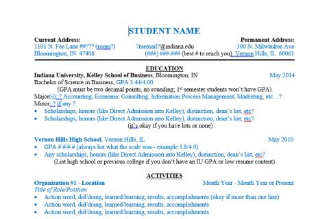 Resume Template Editable – KelleyConnect | Kelley School of Business