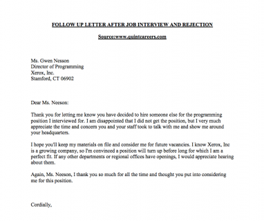 Rejection follow up sample letter careerconnections smeal rejection follow up sample letter thecheapjerseys Image collections