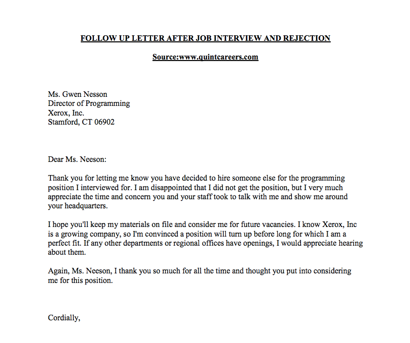 Rejection Follow Up Sample Letter U2013 CareerConnections | Smeal College Of  Business  Follow Up Letter For Job Offer