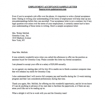 Accepting A Job Offer Sample Letter  Thank You Letter After Offer