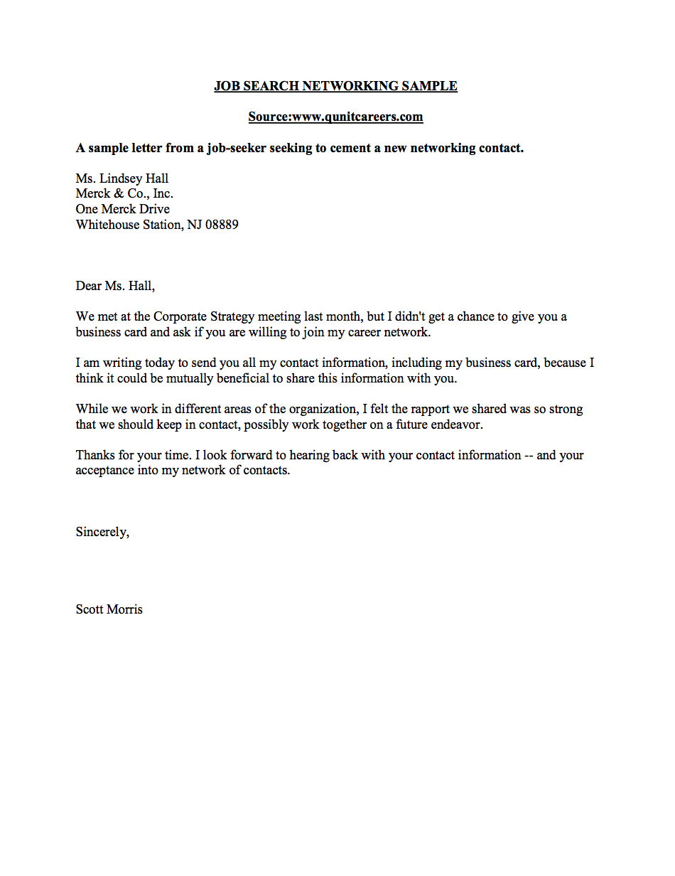 Networking Letter Sample  Business Career Center  Smeal College Of