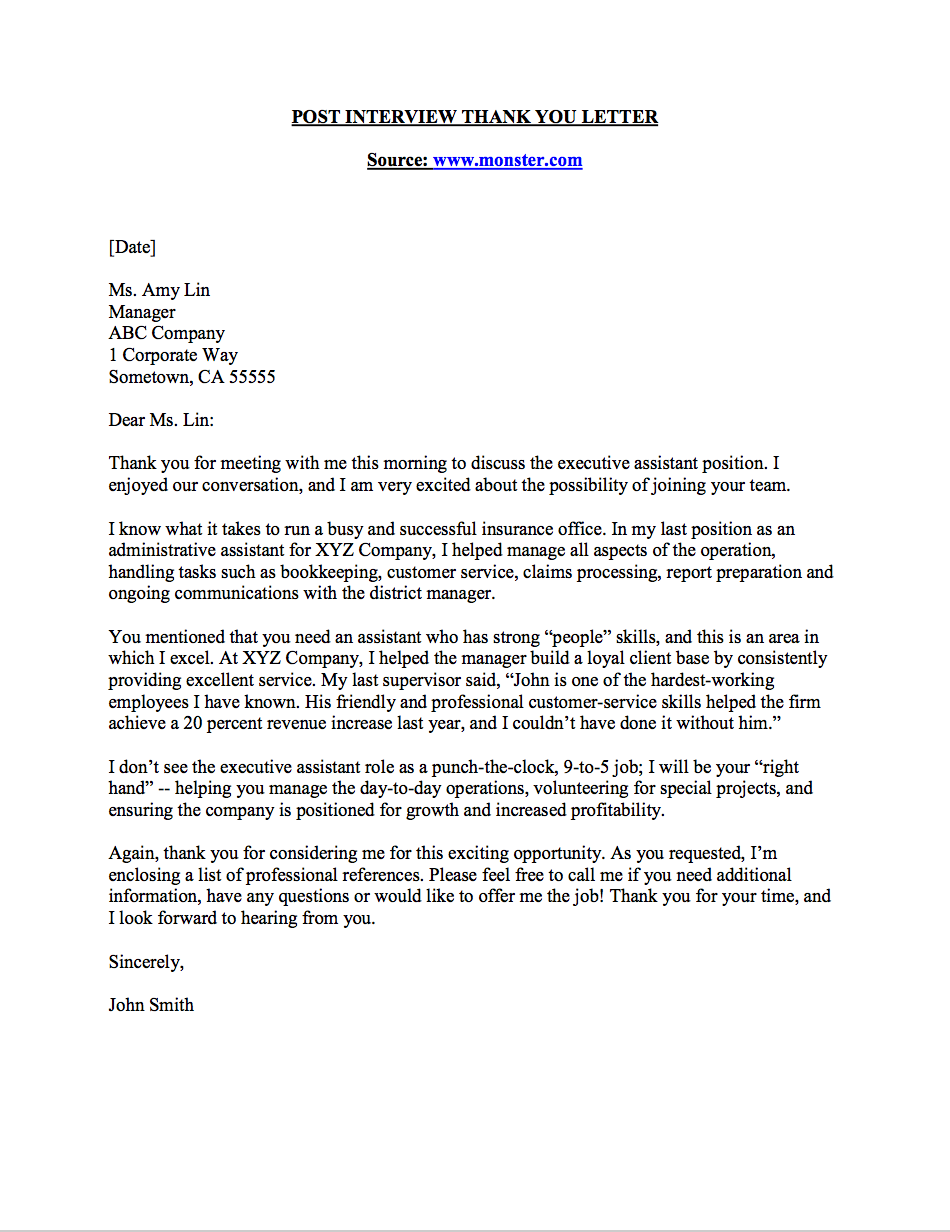 Thank You Letter Sample U2013 Business Career Center | Smeal College Of Business