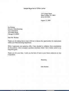 Rejecting a job offer sample letter business career center smeal rejecting a job offer sample letter spiritdancerdesigns Choice Image