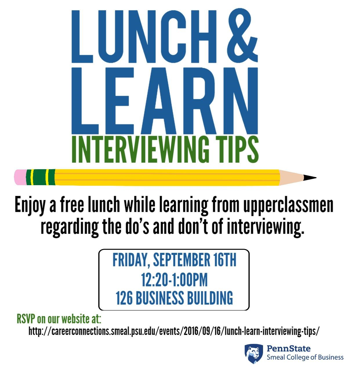 lunch learn interviewing tips careerconnections smeal lunch learn interviewing tips careerconnections smeal college of business