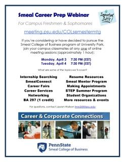 Flyer – Smeal Career Prep Webinar for Campus FR & SO – Spring 2017