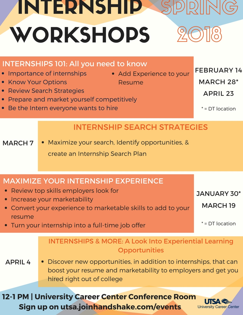 Interactive Internships Workshops this Spring at the Career Center ...