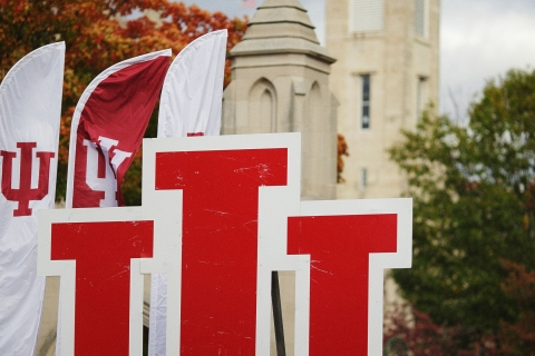 IU logo with clock tower in the background.