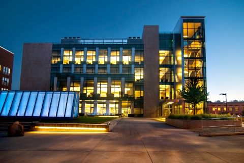 Molecular Sciences Building at dusk. Photo by Katherine B. Turner