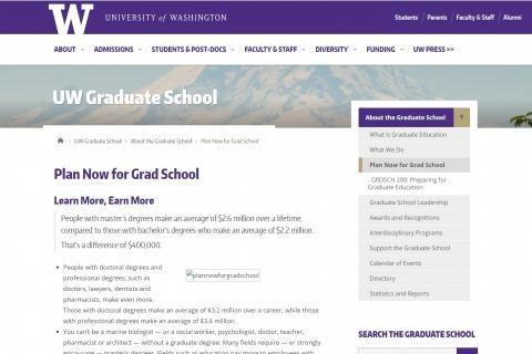 UW Graduate School: Plan Now for Grad School