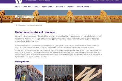 UW Admissions: Undocumented Student Resources