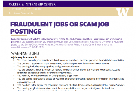 Identifying Scam and Fraudulent Job Postings