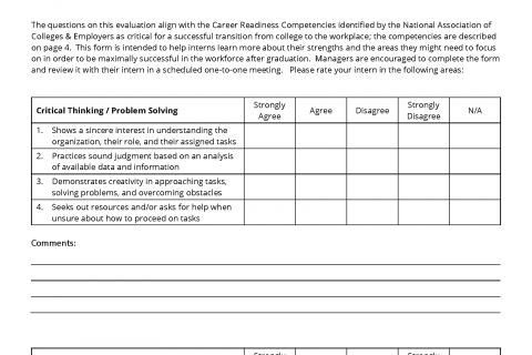 one on one performance review template - intern performance evaluation template career