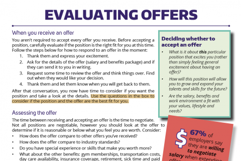 Evaluating offers and salaries