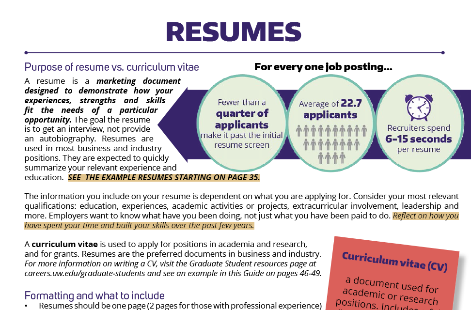 resumes tips advice career internship center university of