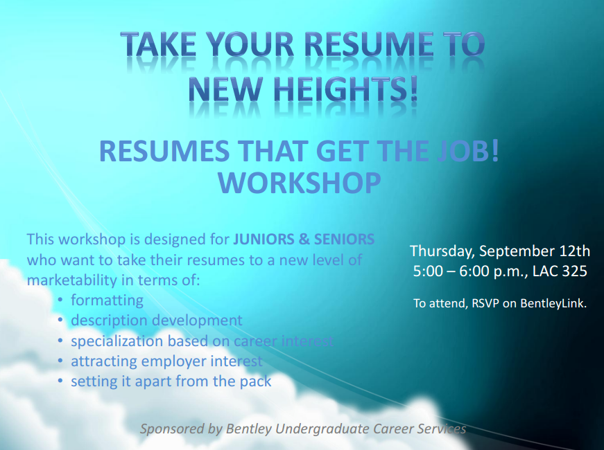 advanced resume writing workshop on 9 12 bentley careeredge