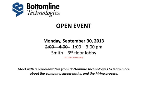 Bottomline Technologies – Open Event Table UPDATED