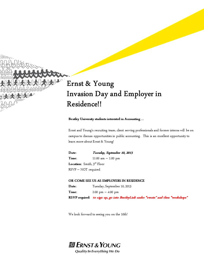 Ernst young coming to campus bentley careeredge for Ernst and young resume sample