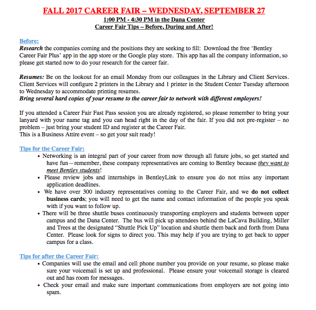 fall career fair tips bentley careeredge