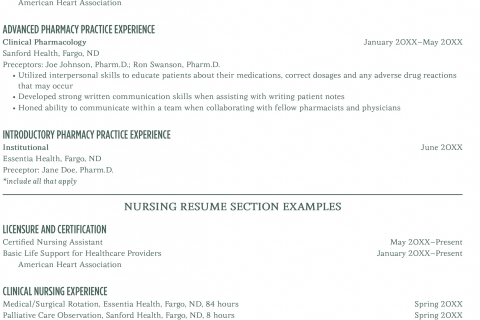sections of a resumes