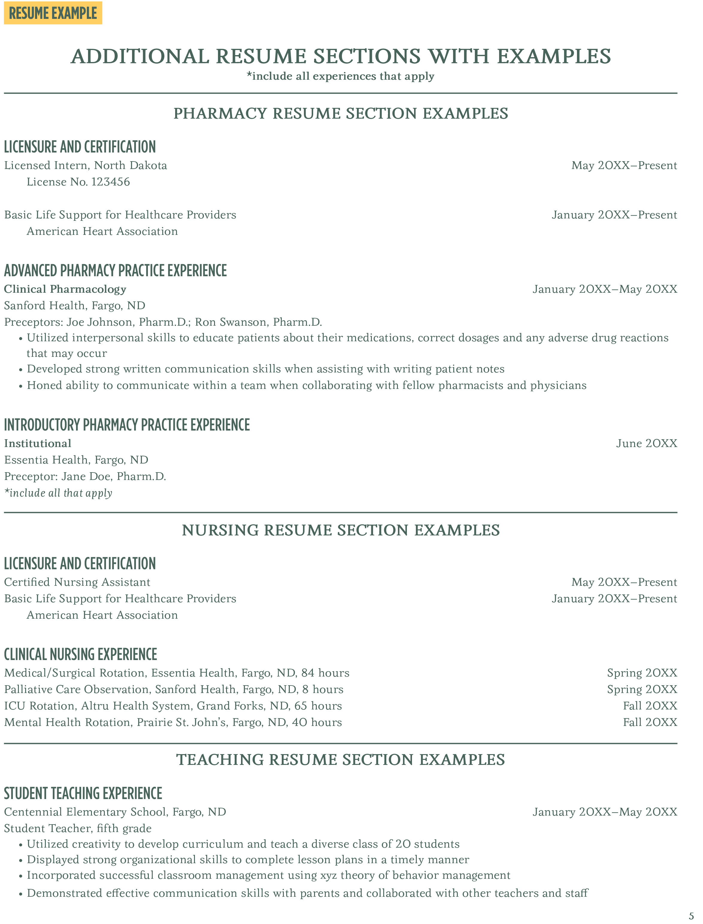 additional resume sections with examples career center north dakota state university - Resume Sections