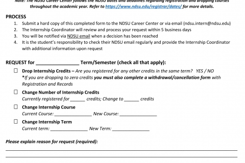 Internship Registration Change Request Form  Career Center  North