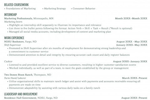Resume Example Career Center North Dakota State University - Resumes For Internships