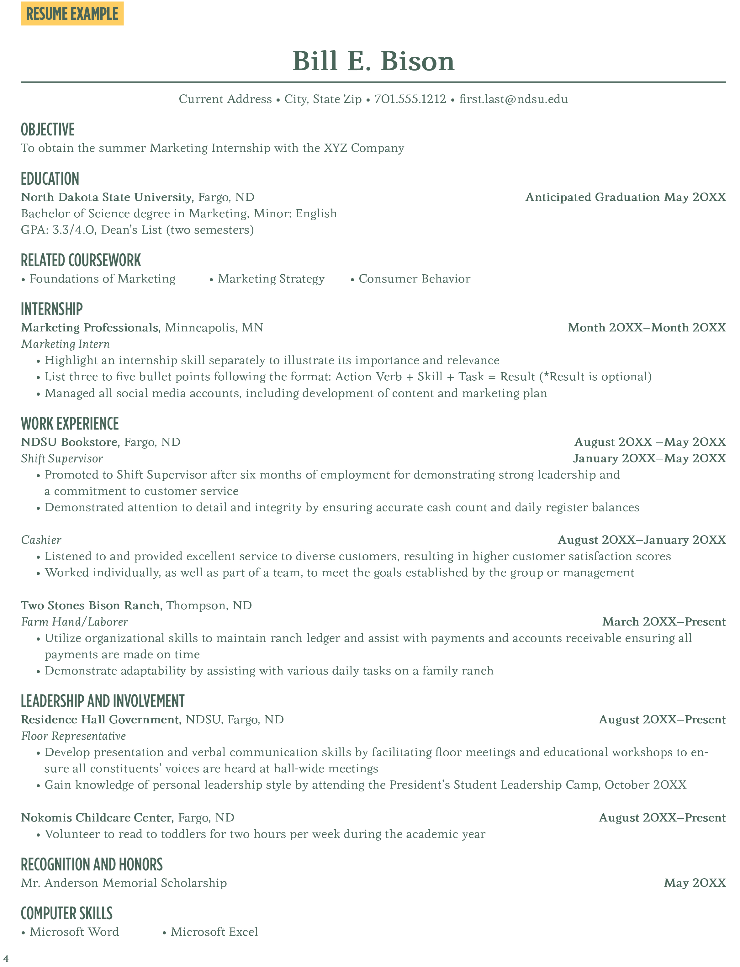 resume example career center north dakota state university - Science Resume Bullet Points