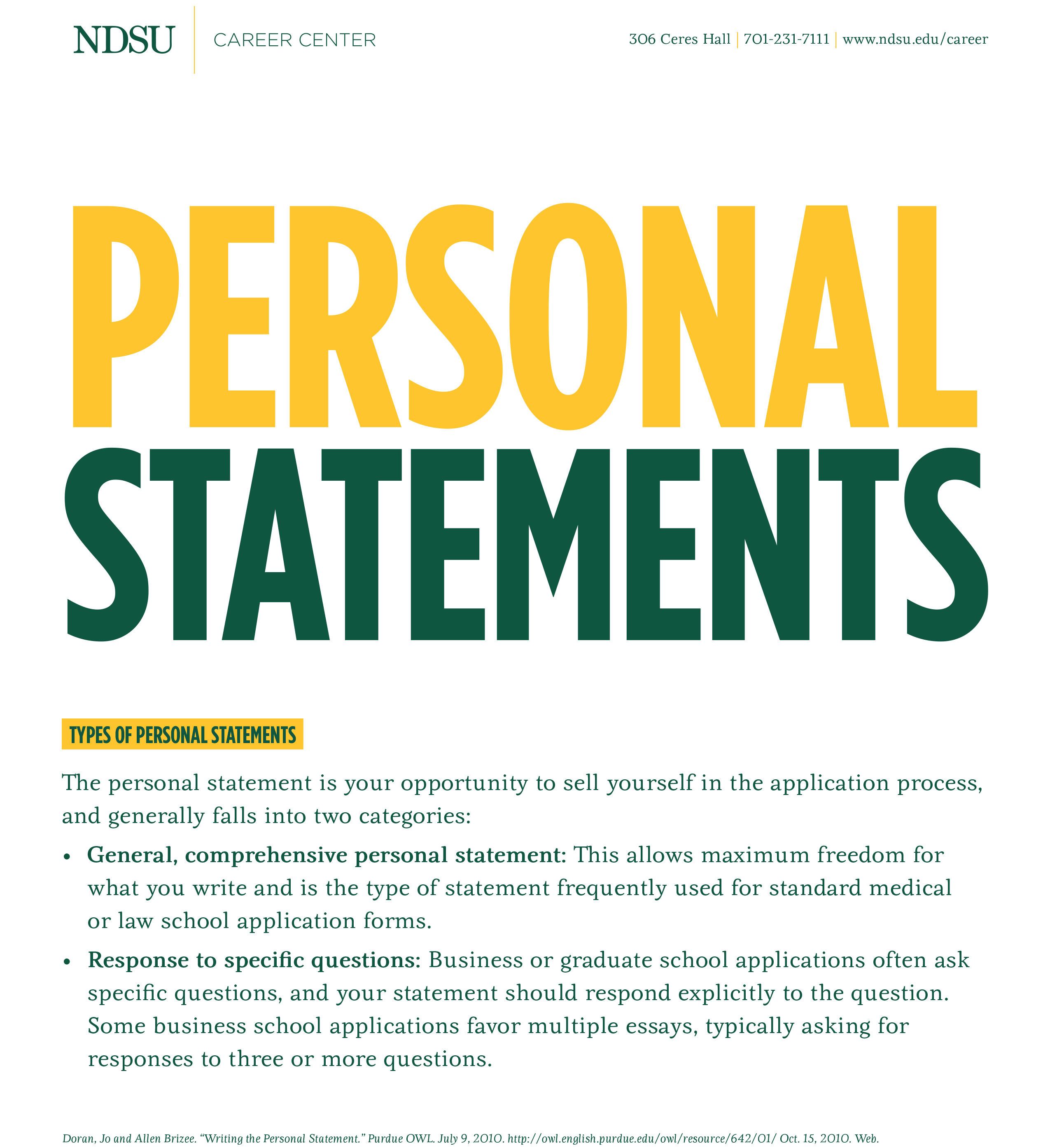 how to write a personal statement career center north dakota state university
