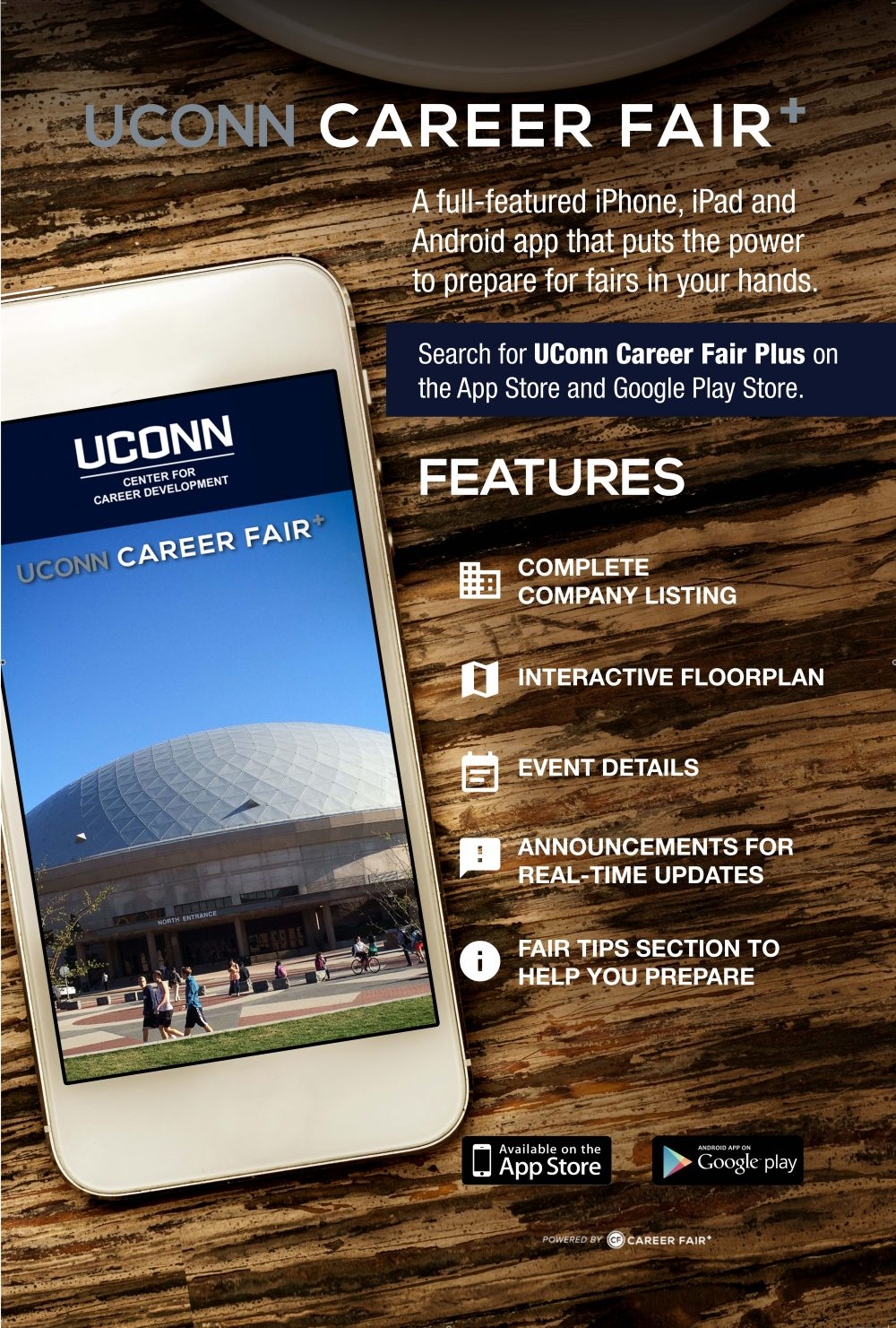 the career fairs are almost here uconn center for career in preparation for the fairs the uconn career fair app and get starting searching through employers viewing interactive floor maps and browsing